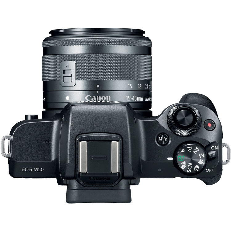 Digital Cameras: Canon EOS M50 Mirrorless Camera with 15-45mm and 55