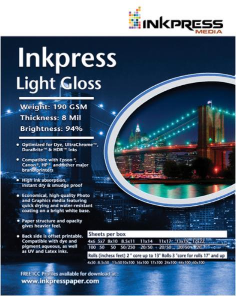 Photo Paper Inkpress Light Gloss 85x11 190gsm Paper 100 Sheets