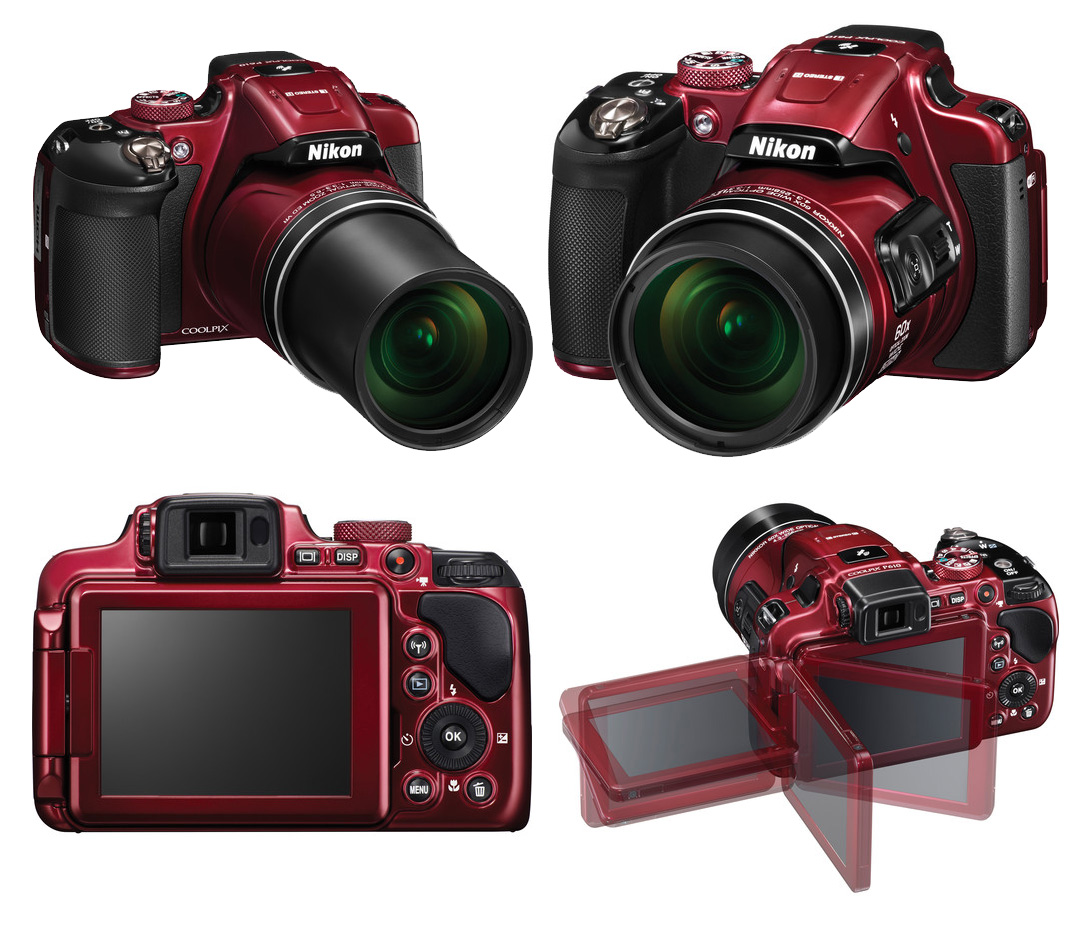 nikon coolpix p610 camera with 60x optical zoom  red  at